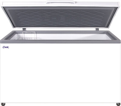 Морозильный ларь Снеж МЛК-500 нерж. крышка, серый