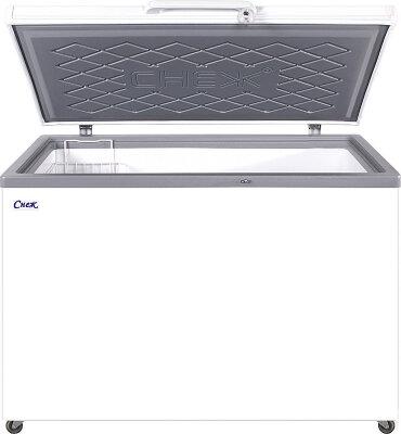 Морозильный ларь Снеж МЛК-400 нерж. крышка, серый