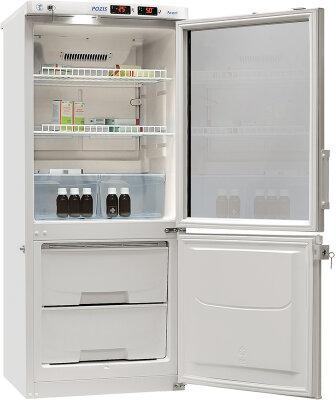 Лабораторный холодильник Pozis ХЛ-250 (серебристый, тонир. стекло)