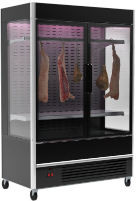 Витрина для демонстрации мяса Полюс FC 20-07 VV 1,3-3 X7 9005 (распашные двери, структурный стеклопакет)