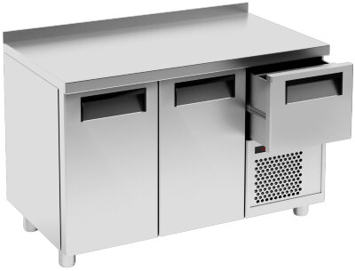 Охлаждаемый стол Россо T57 M2-1 9006-19, корпус серый, без борта, планка (BAR-250)